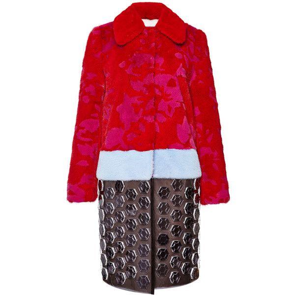 Mary Katrantzou Check Pais Fur Coat In Rosario Red ($43,710) ❤ liked on Polyvore featuring outerwear, coats, floral print coat, floral coat, red coat, fur coat and mary katrantzou