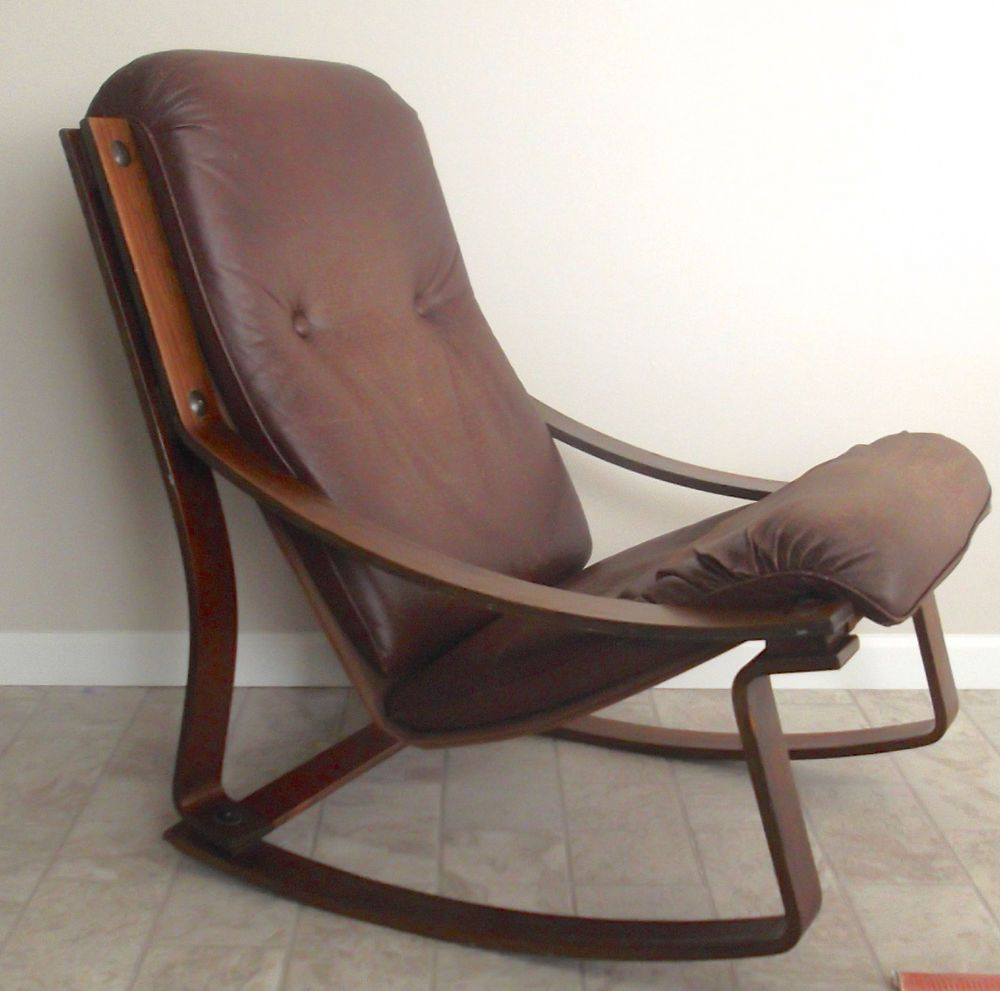 Westnofa Danish Modern Bent Wood Rocking Chair Leather