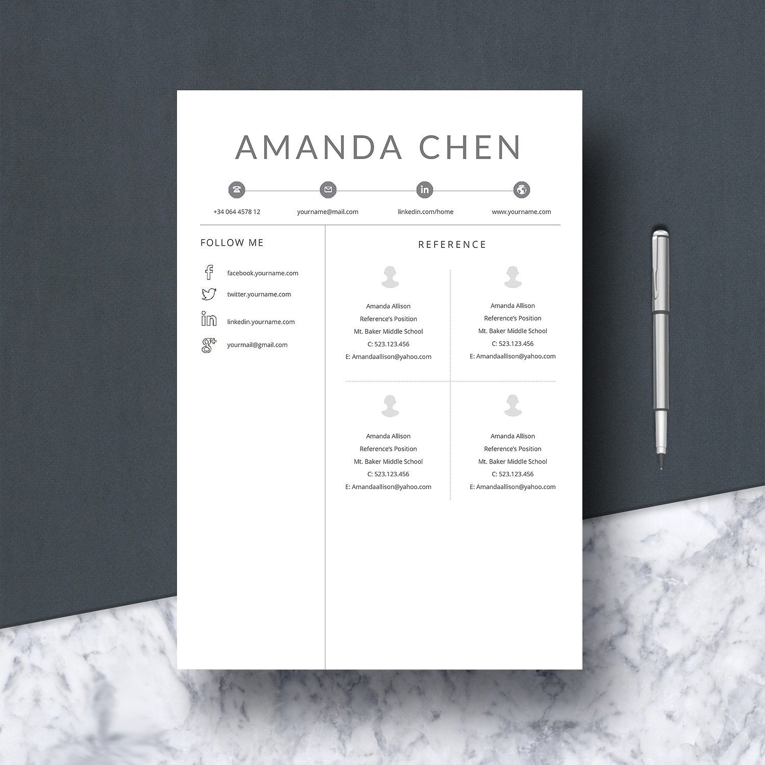 Resume Template & Cover Letter Resume template, Cover
