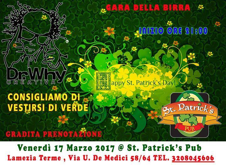 Per il giorno di San Patrizio venite da noi a bere un pò di birra,ci sarà per aumentare il divertimento anche il Dr. Why,il gioco a quiz più famoso d'Italia!!