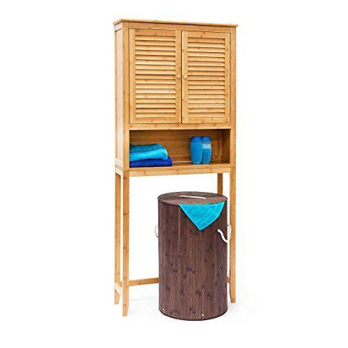 Relaxdays Waschmaschinenschrank LAMELL Bambus, Überschrank ... | {Badschrank ikea 35}