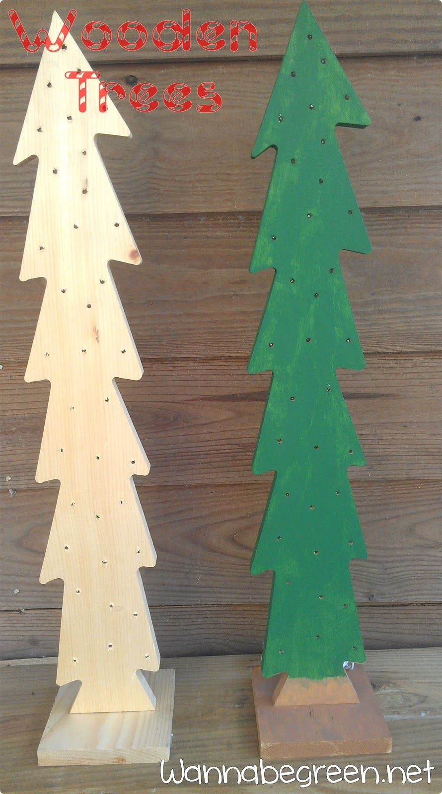 Wooden Christmas Trees. Drill holes for Twinkle lights ...