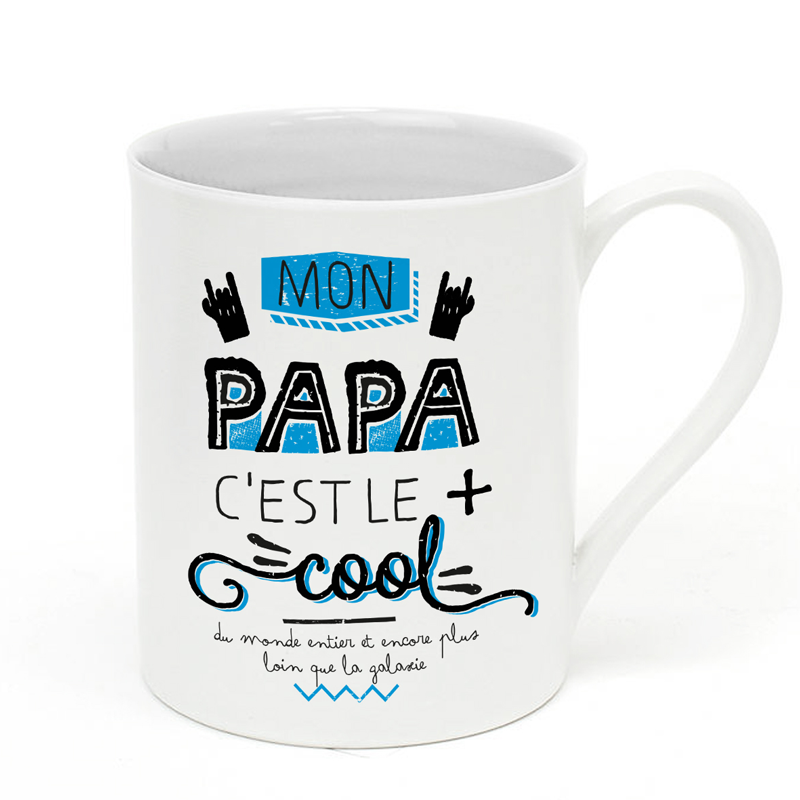 mug porcelaine papa c 39 est le plus cool bisontine cr ations ecole pinterest. Black Bedroom Furniture Sets. Home Design Ideas