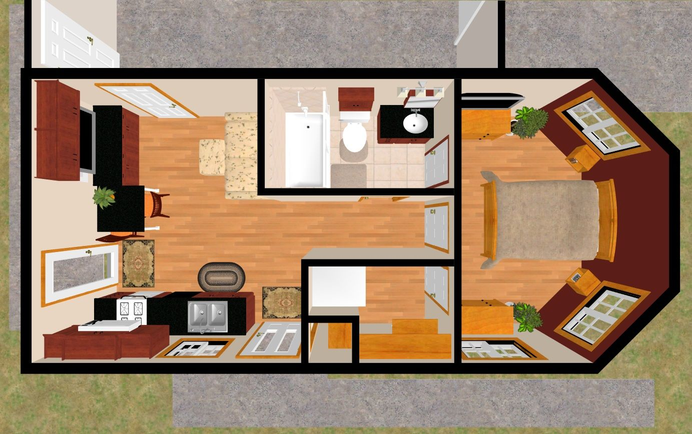The 399 Sq Ft Sure Demure S 3d Top View In 2019 Tiny