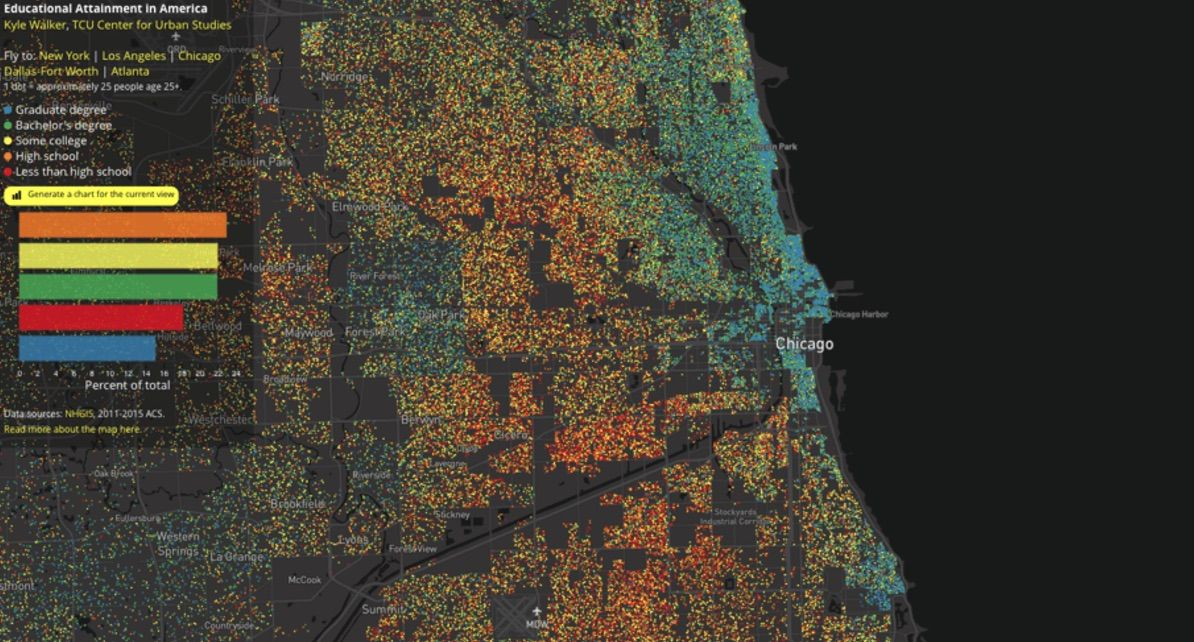 Chicago a colorful dot map reveals the