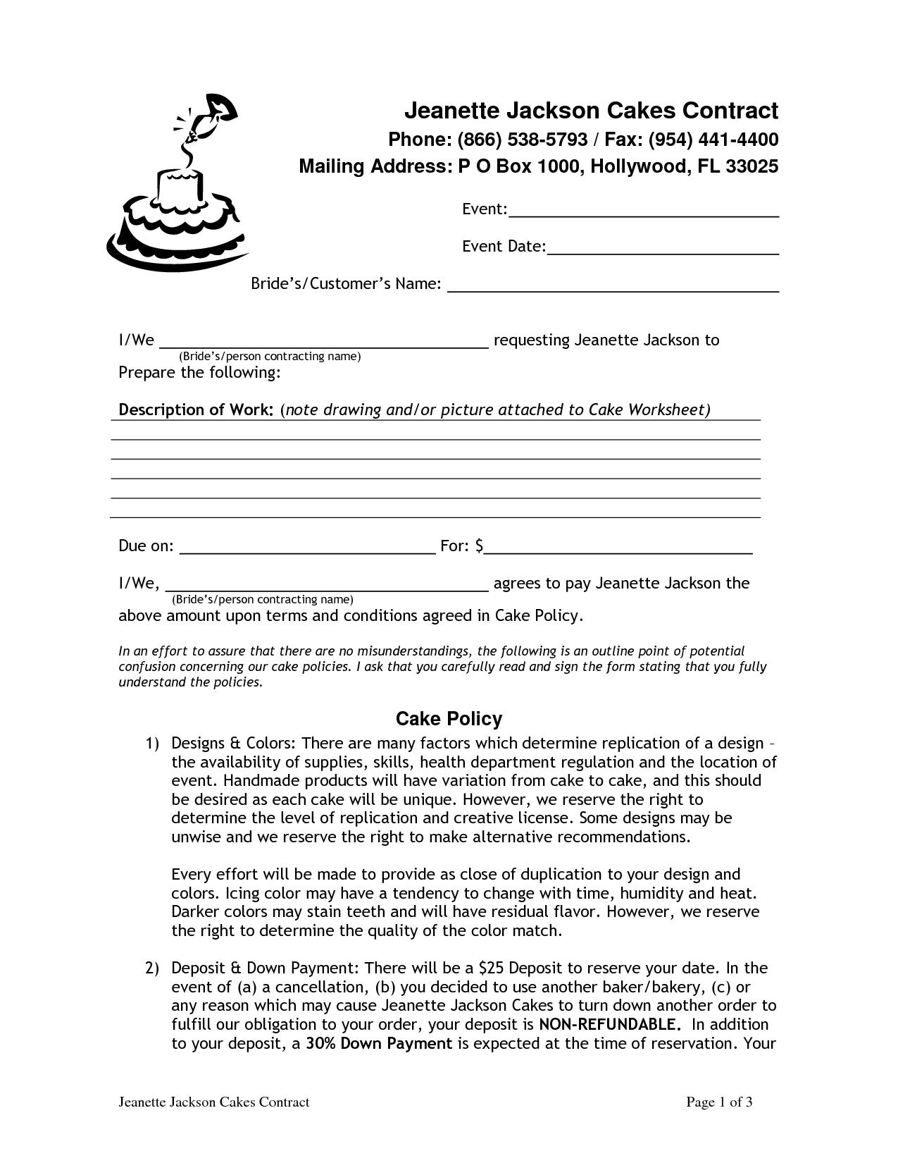 Wedding Cake Contract Pdf  Being Creative    Wedding