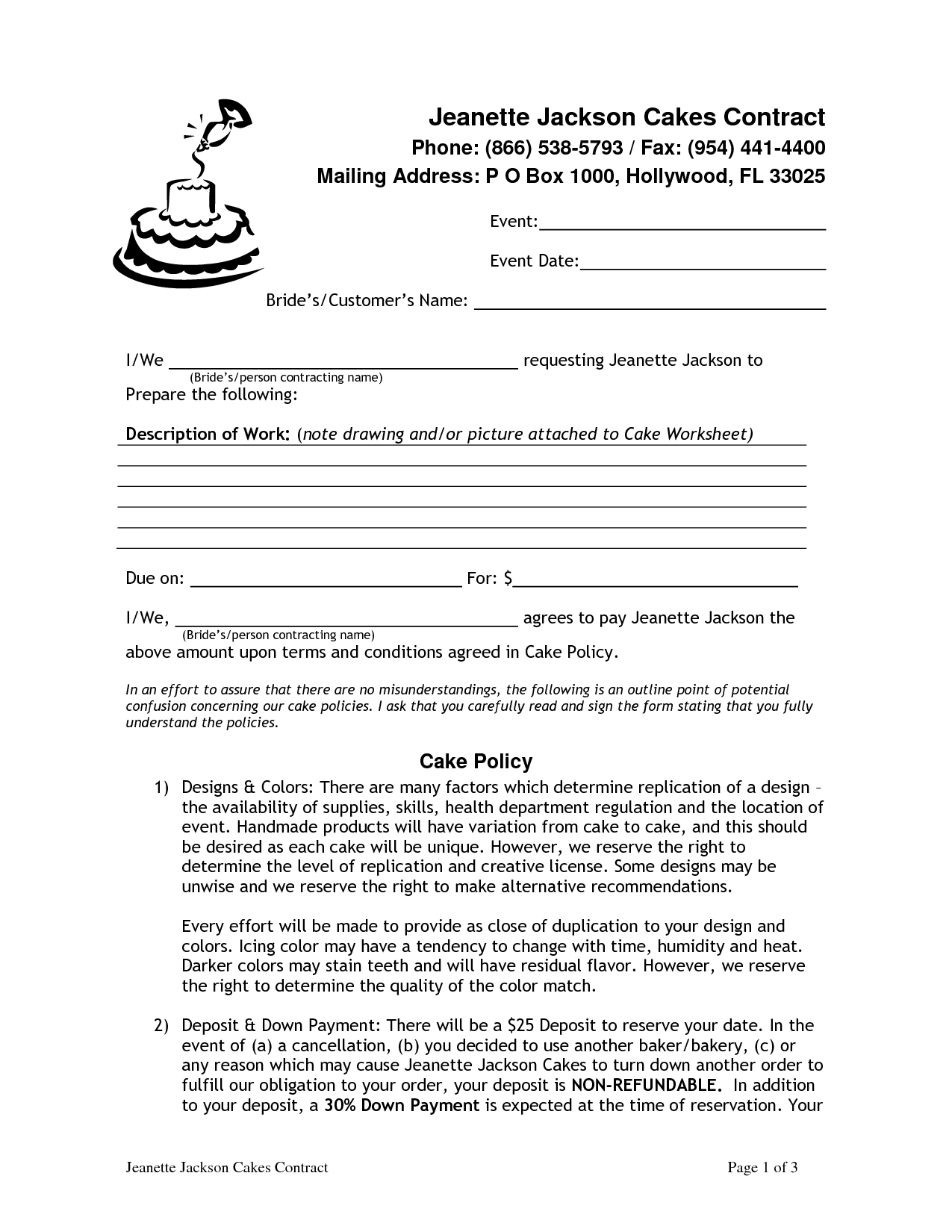 Wedding Cake Contract Pdf