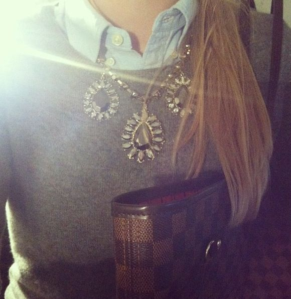 Denim shirt, grey jumper, zara embellished necklace. Topshop.