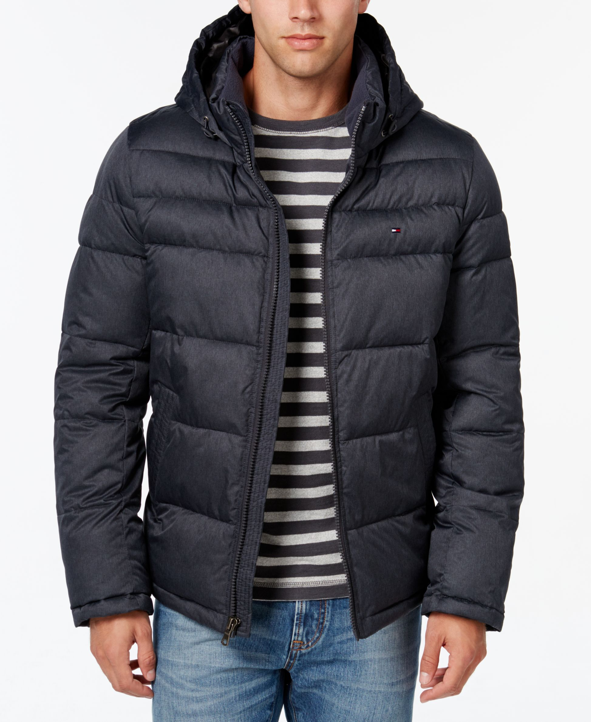 Tommy Hilfiger Mens Quilted Hooded Jacket Bomber