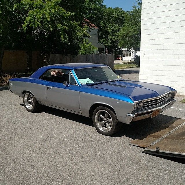 67 chevelle grey and blue two tone.