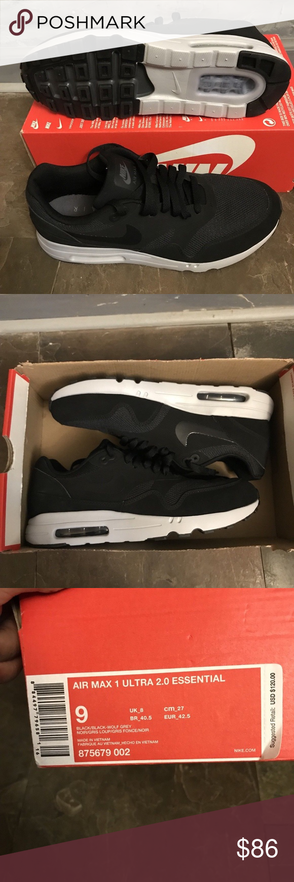 2e5c782c12 NIKE AIR MAX 1 ULTRA 2.0 ESSENTIAL BLACK/WOLF GREY Welcome to Blessed Kicks!