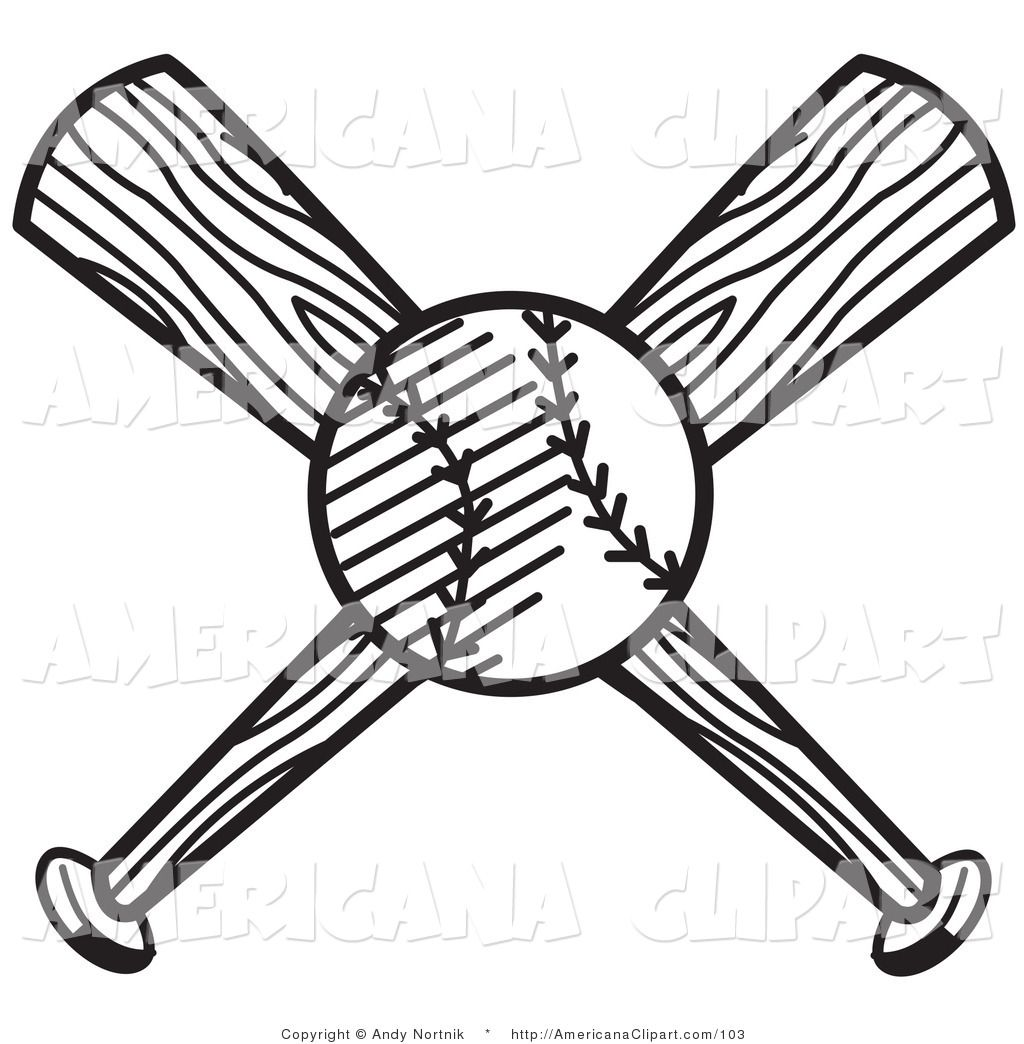 Americana Vector Clip Art Of A Black And White Baseball Over Two Crossed Baseball Bats By Andy Nortnik 103 Clip Art Coloring Pages Black And White