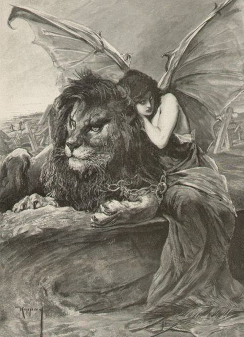 Lion Woman With Devil Bat Wings Chained Together J Koppay 1859