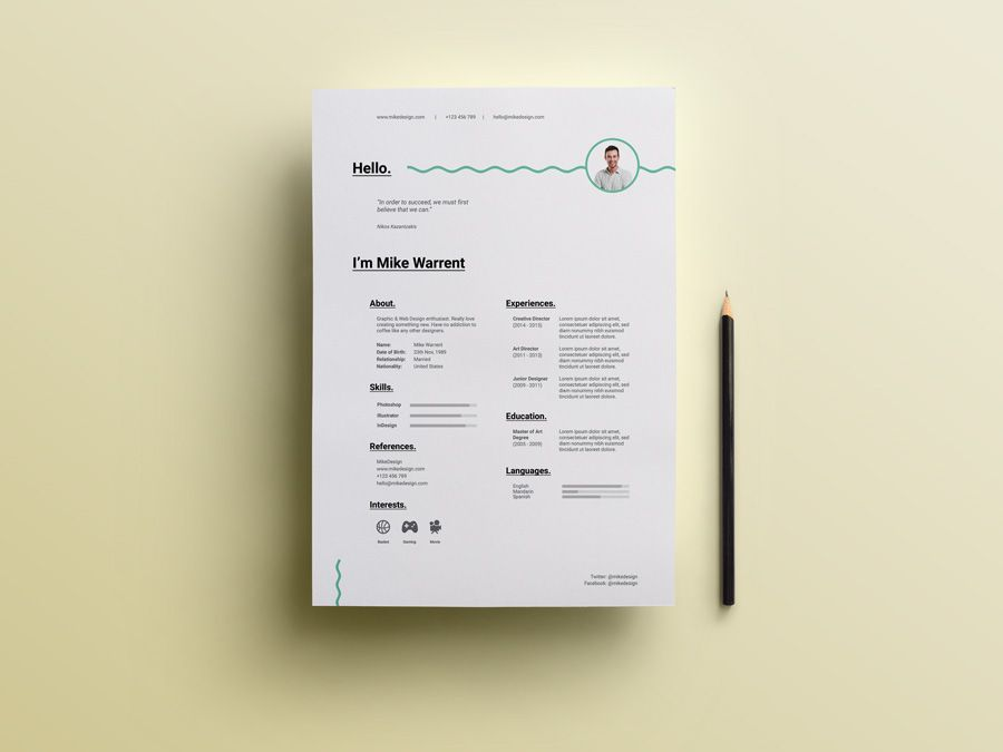 Free Minimalist Resume Template On Behance  Plantilla Cv