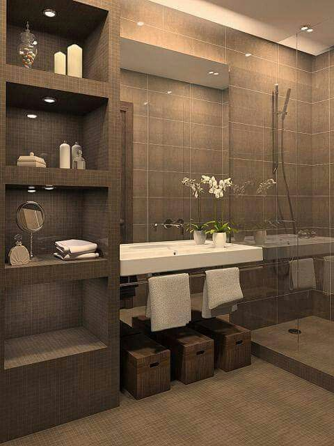 Brown Bathroom Designs. Walk in showers are revolutionizing bathroom designs RONAMAG Pin by majka  on B vanie Pinterest Bath House and