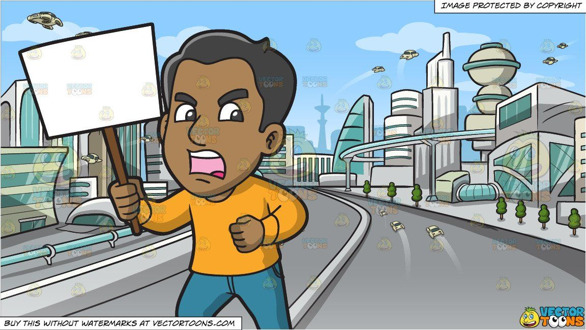 A Furious Man In Protest And Futuristic City Background In 2021 City Background Futuristic City Light Brown Skin