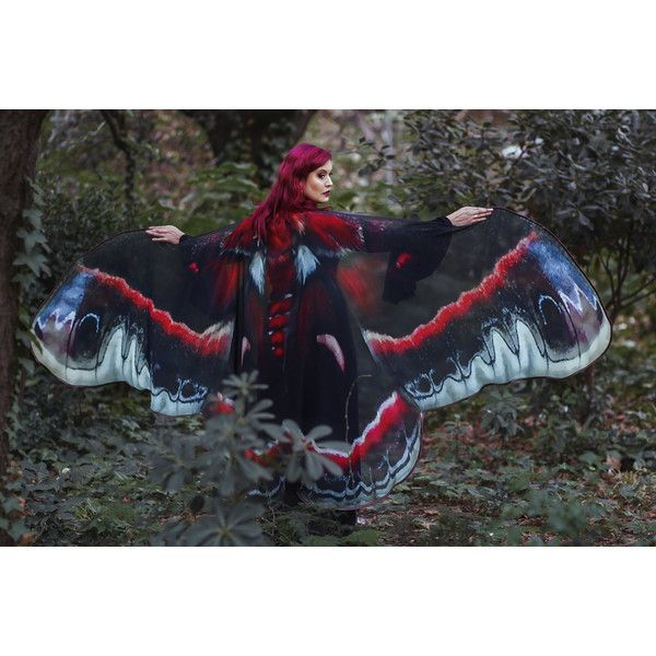 7910d7c9e44 Moth Wings Butterfly Cape Fairy Cloak Red and Black Costume Adult ...