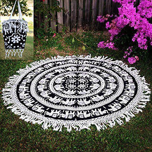 Indian White Elephant Mandala Roundie Beach Throw Tapestry, Hippie Boho Gypsy Cotton Towel, Meditation Yoga Mat....