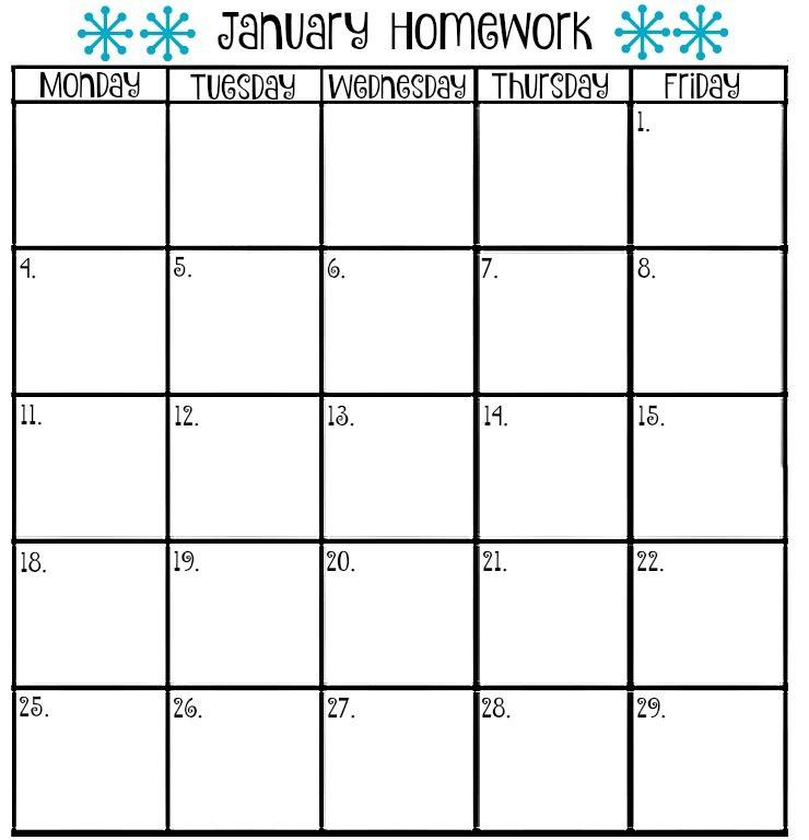 Calendar Homework  Homework    Homework