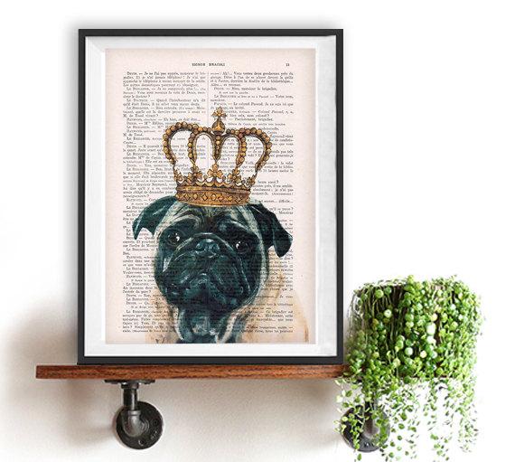 Pug poster, Pug art, Dog Artwork, Pug Art Print, Gift for