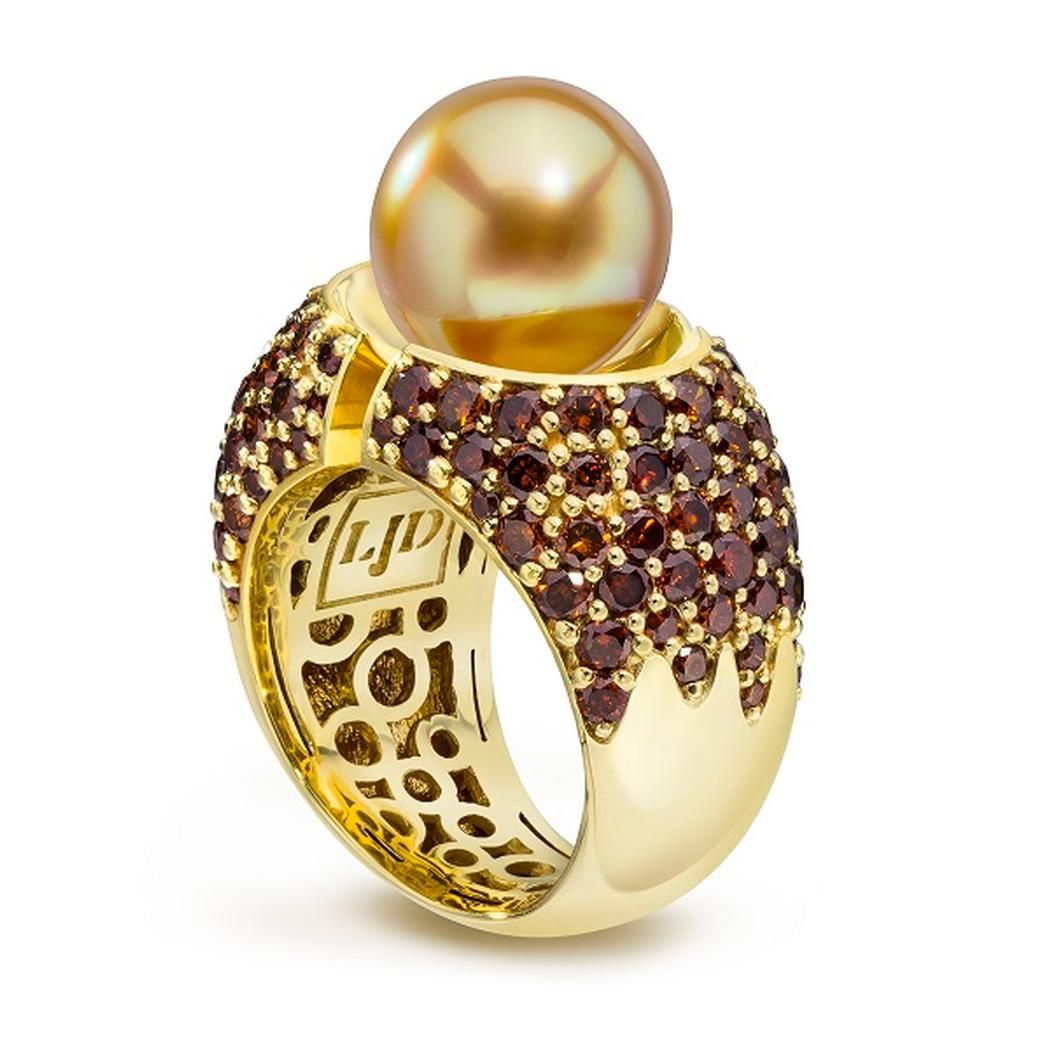 Divided Ring with Pearl and Cognac Diamonds 18K gold