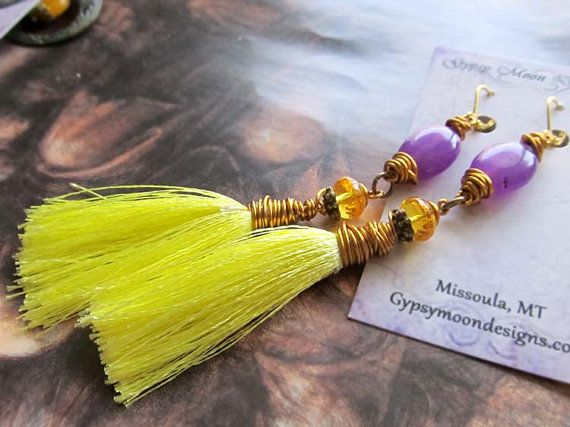 colorful Bohemian earrings Lemon yellow purple by Gypsymoondesigns