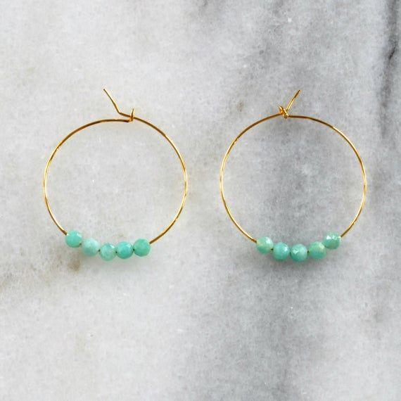 Photo of Small Amazonite Beaded Hoop Earrings, Tiny Hoop Earrings, Amazonite Earrings, Gemstone Hoops, Aqua Turquoise Hoops, Delicate Amazonite Hoops