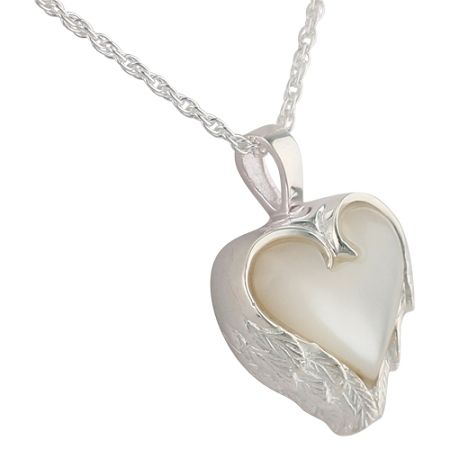 Heart angel wings cremation necklace angel wing pendant angel pearl heart angel wings pendant and necklace for cremation ashes mozeypictures Choice Image