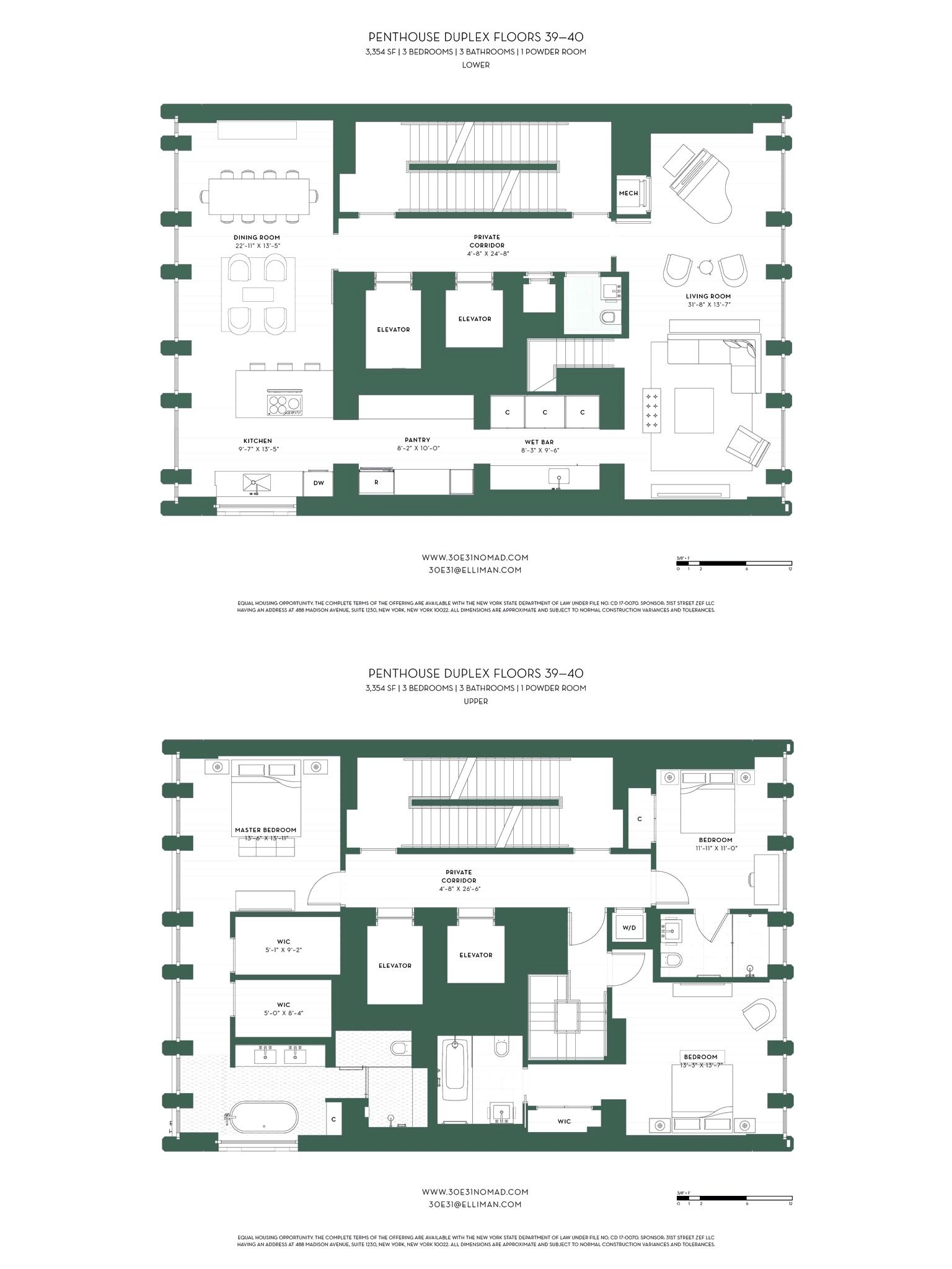 30E31 Nomad New York Penthouse Floorplans