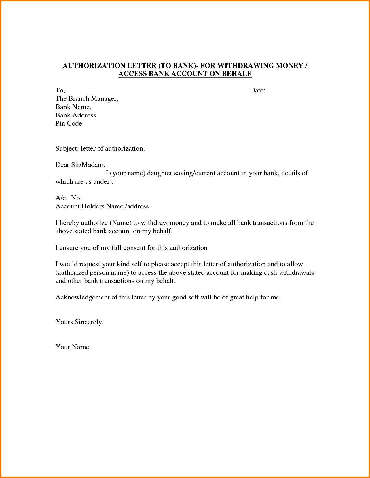 Authorization Letter Behalf Pdf Sample Death Announcement Related