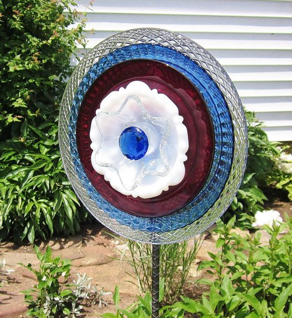 Garden Art Glass Yard Stake Red White Blue Outdoor Decor Upcycled
