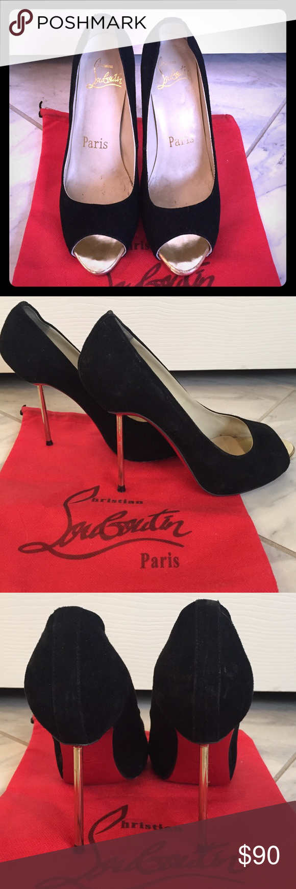 Red sole black suede peep toe stilettos 37 Red soled (see pictures for wear), black suede heels. Heels and peep toe are gold. These are a size 37 but fit more like a 38. Comes with dust bag. The heels don't have the cleanest insertion (see photo) hence the low price for these gorgeous classic shoes. Suede is in near perfect condition. Shoes Heels