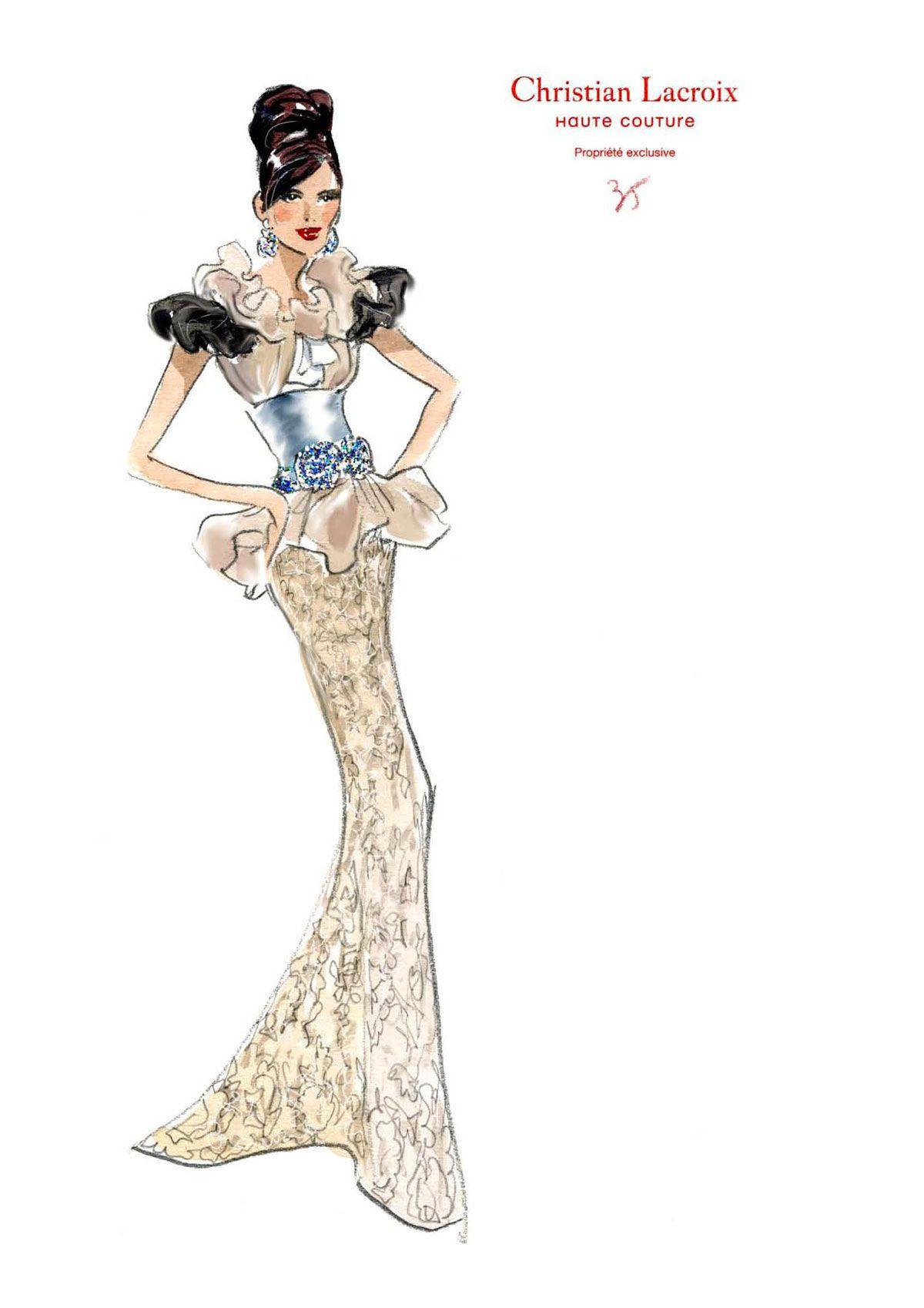 Lacroix croquis client le 4 dessin pinterest - Dessin de couture ...