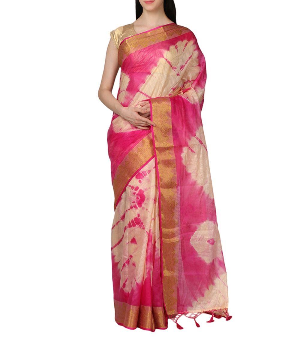 Red Chanderi Silk Zari Work Saree With Blouse Piece #indianroots #ethnicwear #saree #chanderi #silk #zariwork #blousepiece #casualwear