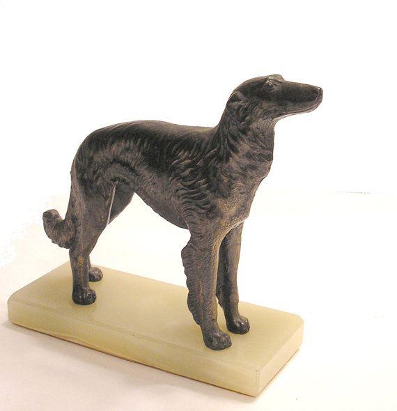 Wonderful Antique Cast Metal Afghan Hound Dog Figurine