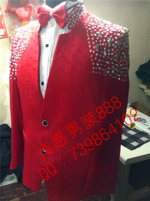 Fashion men rhinestone light red slim jacket Male singer dancer formal  dress red customize plus size suit blazer top clothing-in Suits from Men s  Clothing ... f98f583918bc