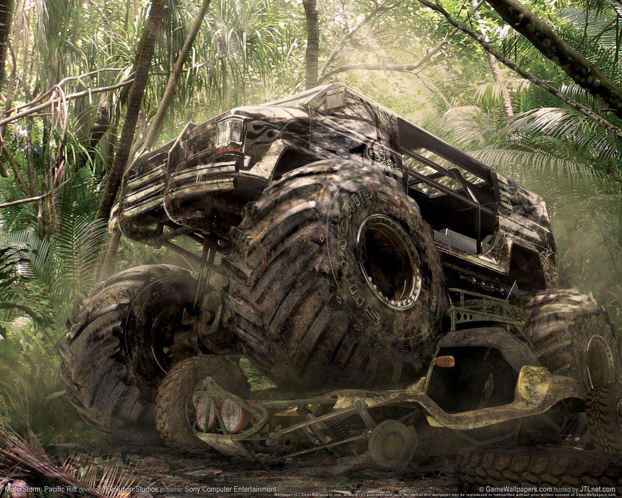 Monster Truck Del Videojuego Motorstorm Pacific Rift Monster Trucks High Resolution Wallpaper Big Trucks