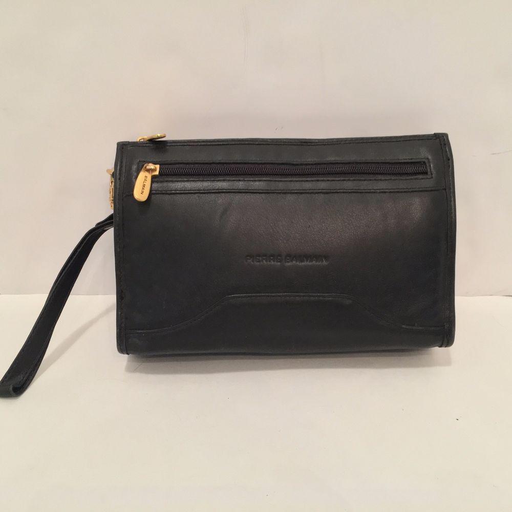 ad5ffd46b7fe vtg pierre BALMAIN Black Leather Men s Clutch Handbag Bag 70 s  Balmain   BriefcaseAttache