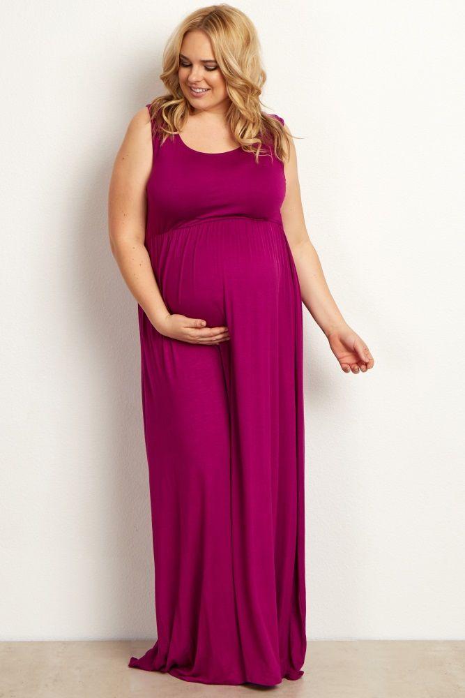 Magenta Basic Sleeveless Plus Maternity Maxi Dress | Ropa de ...