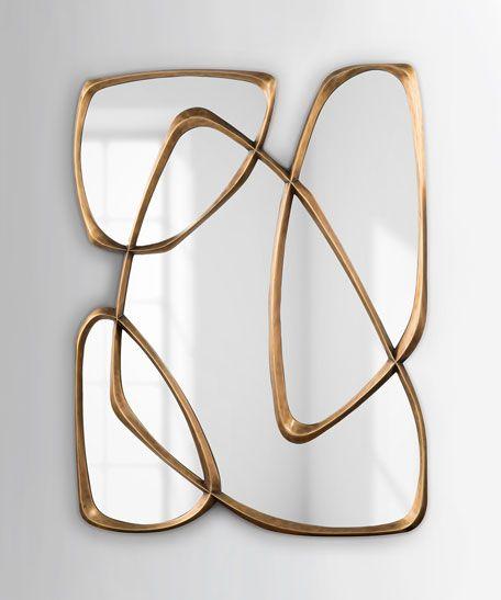 John Richard Collection Asymmetrical Mirror Mirror Wall Decor Bronze Mirror Modern Mirror