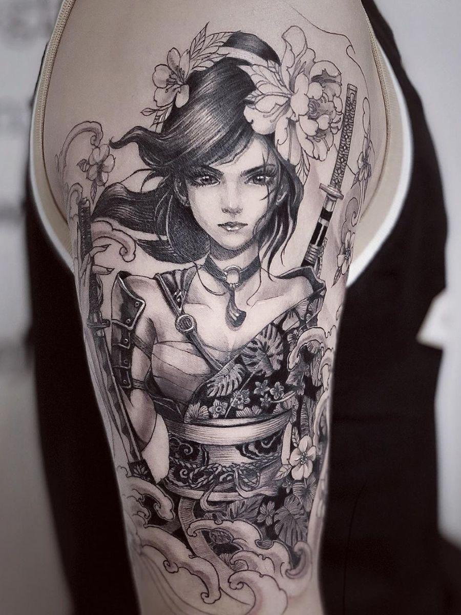 Ramon On Twitter Female Samurai Tattoo Geisha Tattoo Female Samurai