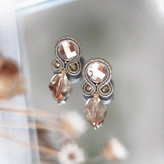 Small Soutache Earrings With Swarovski, Subtle Occasion