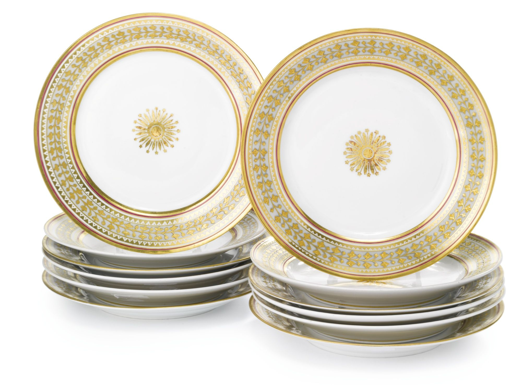 A Set Of Twelve Russian Porcelain Dinner Plates From The Babygon