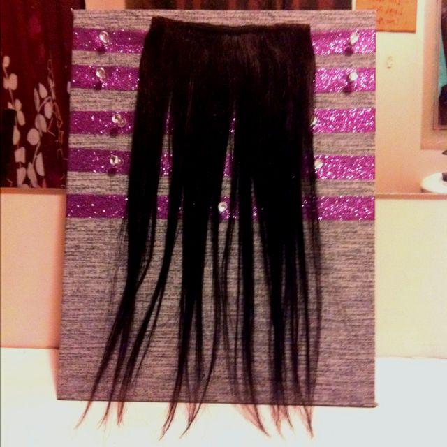 Hair Extension Holder Cork Board Fabric Ribbion And Hot Glue Gun