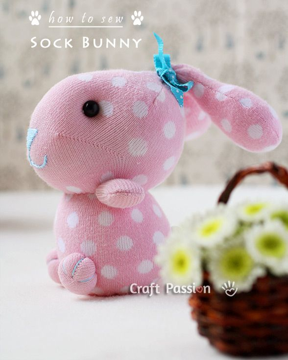 Quick & easy way to sew soft toys with sock. Follow the step by step photos and instruction to sew sock bunny by using only 1 sock. A perfect gift to make.