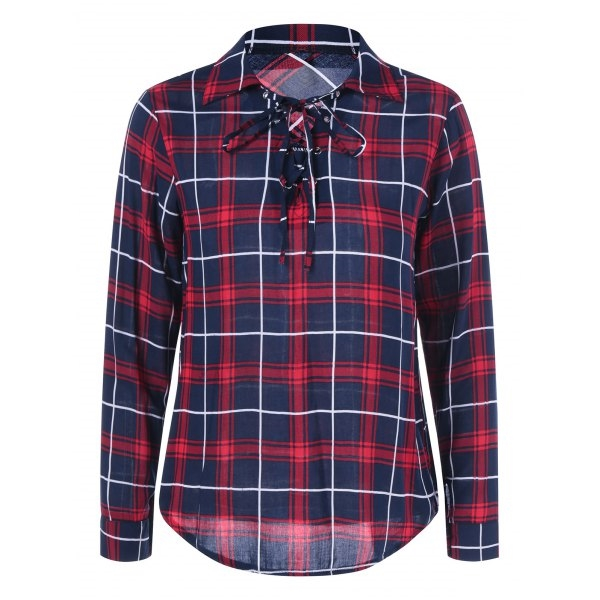 11.14$  Watch now - http://dipj8.justgood.pw/go.php?t=200511902 - Lace Up Plaid Shirt 11.14$