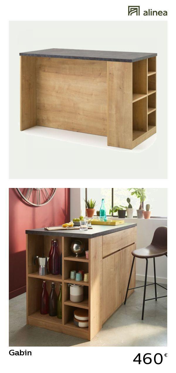 Verrière Cuisine : alinea : gabin bar îlot central l140cm rangement réversible meubles salle à ...