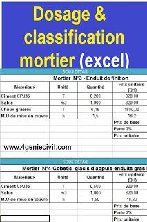 Dosage Classification Formulation De Mortier Sur Excel Genie Civil Mur De Soutenement Calcul Beton