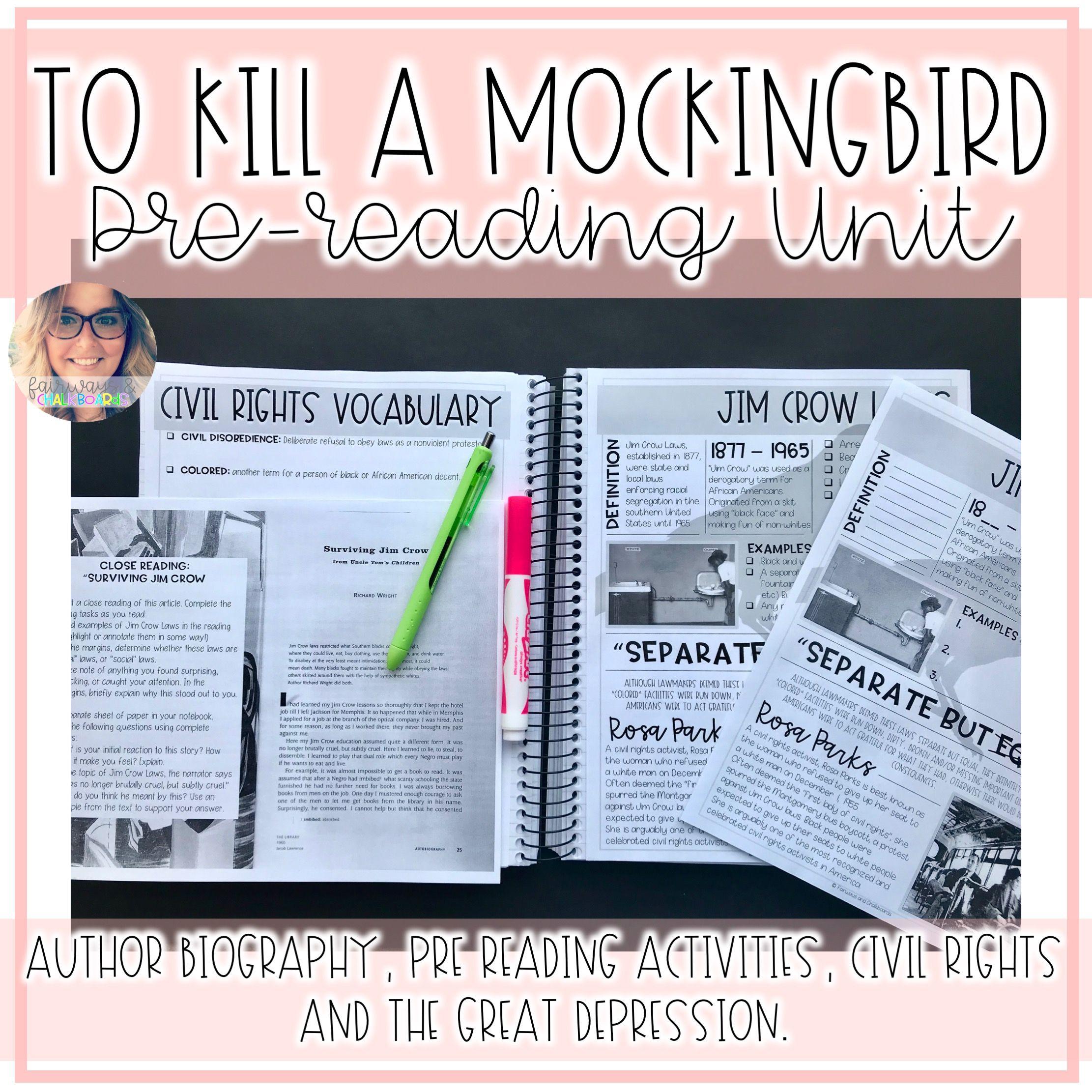 To Kill A Mockingbird Pre Reading Unit Reading Unit To Kill A Mockingbird Online Teaching Resources