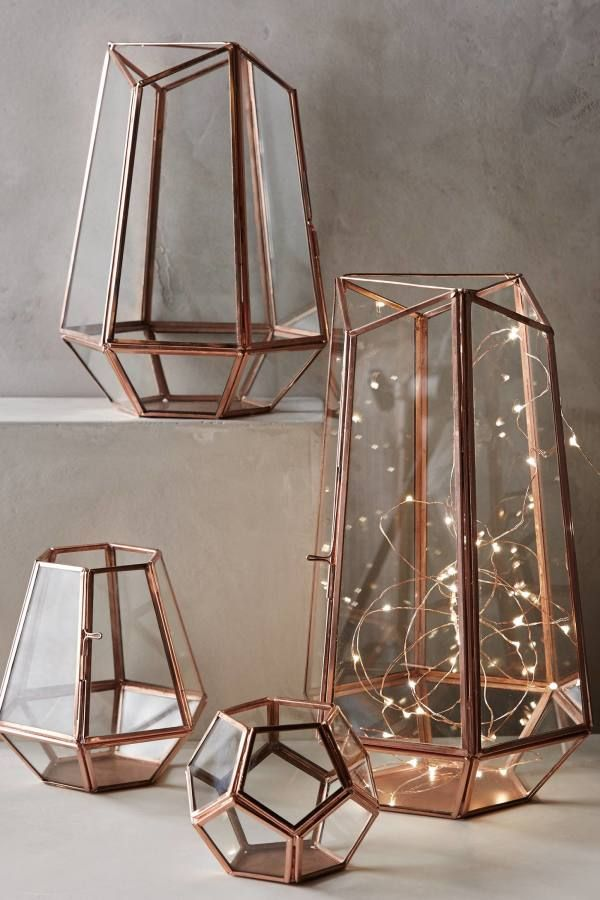 Rose Gold Finds For The Home Gold Home Decor Geometric Lantern Decor